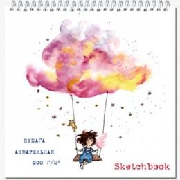 """SketchBook(Полином) Блокнот д/зарисовок """"Quadro big"""" [20л.;190х190;мет.гребень;жест.подл;бумага рисовальная марки А 200г/м2] (2749/871120)"""