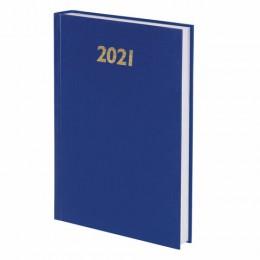 Ежедневник датированный 2021 (145х215мм), А5, STAFF, бумвинил, синий, 111812
