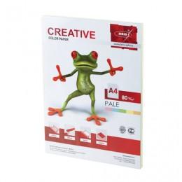 Бумага CREATIVE color (Креатив) А4, 80 г/м2, 100 л., (5 цв.х20 л.), цветная пастель, БПpr-100r