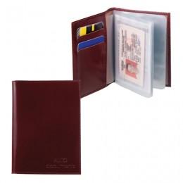 Бумажник водителя BEFLER Classic, натуральная кожа, тиснение, 6 пластиковых карманов, коньяк, BV.20.-1