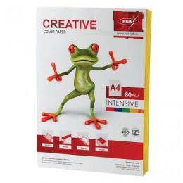 Бумага CREATIVE color (Креатив) А4, 80 г/м2, 100 л., интенсив желтая, БИpr-100ж
