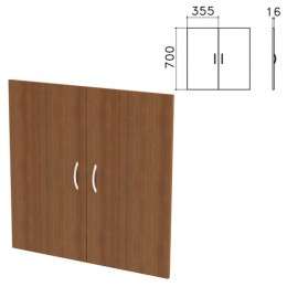 Дверь ЛДСП низкая Бюджет, КОМПЛЕКТ 2 шт., 355х16х700 мм, орех французский, 402879-190