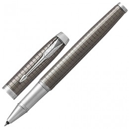 Ручка-роллер PARKER IM Premium Dark Espresso Chiselled CT, корпус кофейный лак с гравировкой, хромированные детали, черная, 1931682