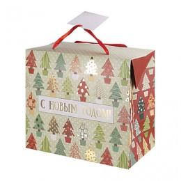 Пакет-коробка подарочный ламинированный, 22,5х20х13,5 см, Разноцветные ёлочки 180 г/м2, 79954
