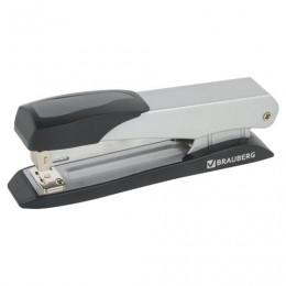 Степлер №24/6, 26/6 металлический BRAUBERG ST-300M, до 25 листов, серо-черный, 224346