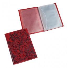 Бумажник водителя BEFLER Гипюр, натуральная кожа, тиснение, 6 пластиковых карманов, красный, BV.38.-1