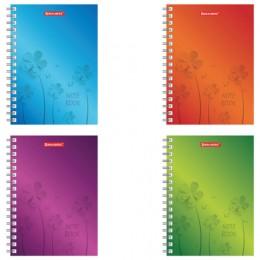 Записная книжка МАЛОГО ФОРМАТА (160х114 мм), А6, BRAUBERG, 120 л., гребень, клетка, Цветы, 129851