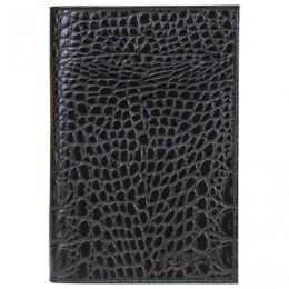 Обложка для паспорта BEFLER Кайман, натуральная кожа, тисненение крокодил, черная, O.1.-13