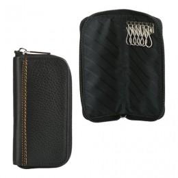Футляр для ключей FABULA Brooklyn, натуральная кожа, отстрочка, молния, 140х70 мм, черный, KL.40.BR