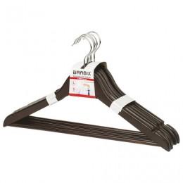 Вешалки-плечики, размер 48-50, КОМПЛЕКТ 5 шт., дерево, перекладина, цвет шоколад, BRABIX Стандарт, 601162