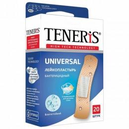 Набор пластырей 20 шт. TENERIS UNIVERSAL универсальный на полимерной основе, бактерицидный с ионами серебра, коробка с европодвесом, 0208-006