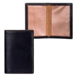 Обложка для паспорта FABULA Kansas, натуральная кожа, отстрочка, тиснение Passport, черная, O.8.TX