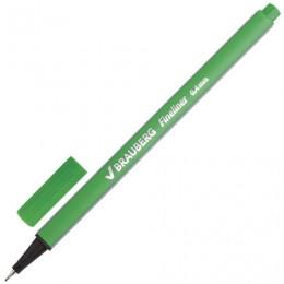 Ручка капиллярная BRAUBERG Aero, СВЕТЛО-ЗЕЛЕНАЯ, трехгранная, металлический наконечник, линия письма 0,4 мм, 142250