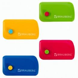 Ластик BRAUBERG Delta, 60х33х18 мм, ассорти, выкидной, термопластичная резина, пластиковый держатель ассорти, 223594