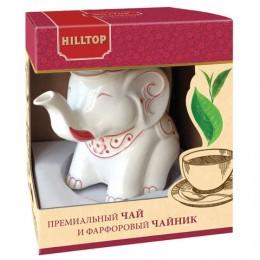 Чай HILLTOP Земляника со сливками черный листовой 80 г, фарфоровый чайник СЛОН ГРАНАТ 650 мл, 15001