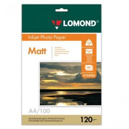 Фотобумага для струйной печати, А4, 120 г/м2, 100 листов, односторонняя матовая, LOMOND, 0102003