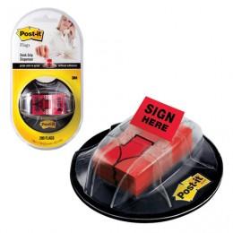 Диспенсер для закладок самоклеящиеся POST-IT Professional + закладки 25 мм, 200 шт., стрелки, красные, 680-HVSHR