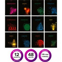 Тетради предметные, КОМПЛЕКТ 12 ПРЕДМЕТОВ, DARK, 48 листов, глянцевый УФ-лак, BRAUBERG, 404028
