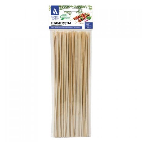 Шампуры для шашлыка деревянные 300 мм, КОМПЛЕКТ 100 штук, БЕЛЫЙ АИСТ, берёза, 607572