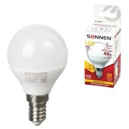Лампа светодиодная SONNEN, 5 (40) Вт, цоколь E14, шар, теплый белый свет, LED G45-5W-2700-E14, 453701
