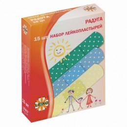 Набор пластырей 15 шт. LEIKO Радуга, на полимерной перфорированной основе, 3 цвета, в картонной упаковке, 213534