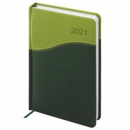 Ежедневник 2021 (138x213мм), А5, BRAUBERG Bond, кожзам, зеленый/салатовый, код 1С, 111405