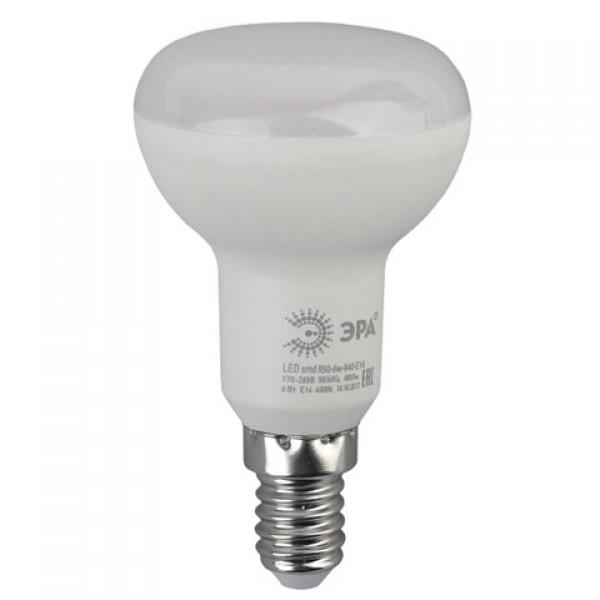Лампа светодиодная ЭРА, 6 (40) Вт, цоколь E14, рефлектор, теплый белый свет, 30000 ч., LED smdR50-6w-827-E14