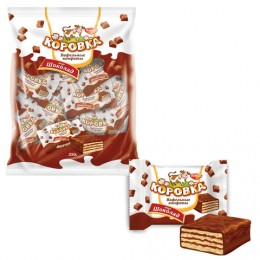 Конфеты шоколадные РОТ ФРОНТ Коровка, вафельные с шоколадной начинкой, 250 г, пакет, РФ09756