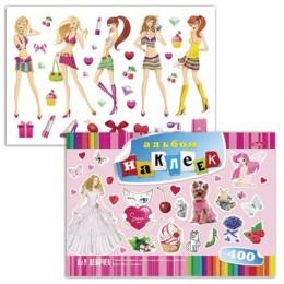Альбом наклеек, А4, 12 л., HATBER, 400 наклеек, Для девочек, 12Ан4 12638, O162279