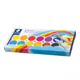 Краски акварельные STAEDTLER (Германия), 12 цветов + белила, с кистью, пластиковая коробка, 888 NC12