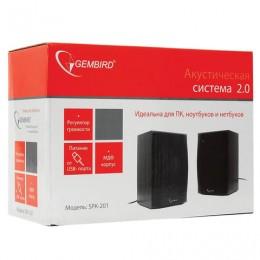 Колонки компьютерные GEMBIRD SPK-201, 2.0, 2х2, 5 Вт, USB, регулятор громкости, МДФ, черные