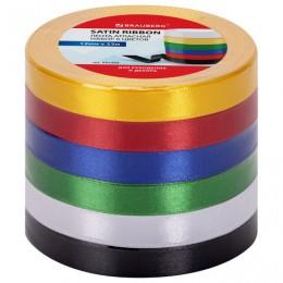 Лента атласная ширина 12 мм, набор №1 6 цветов по 23 м, BRAUBERG, 591499