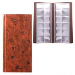 Альбом для монет или купюр, 105х223 мм, на 72 монеты D до 30 мм, выдвижные карманы, коричневый, ДПС, 2858-104