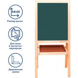 Доска-мольберт двусторонняя для мела и магнитно-маркерная (56х67 см), белая/зеленая, РОССИЯ, BRAUBERG, 235519