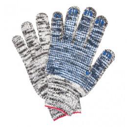 Перчатки хлопчатобумажные 7 класс, 60-62 г, 216 текс, ПВХ-точка, комплект 5 пар, ЛАЙМА ПРОФИ, меланж, 604471