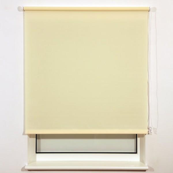 Штора рулонная BRABIX 140х175 см, текстура - лён, защита 55-85%, 200 г/м2, кремовый S-21, 606002