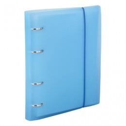 Тетрадь на кольцах А5 (175х220 мм), 120 л., пластиковая обложка, клетка, с фиксирующей резинкой, BRAUBERG, синий, 403567