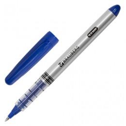 Ручка-роллер BRAUBERG Control, СИНЯЯ, корпус серебристый, узел 0,5 мм, линия письма 0,3 мм, 141554