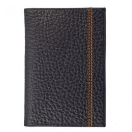 Обложка для паспорта FABULA Brooklyn, натуральная кожа, контрастная отстрочка, черная, О.81.BR