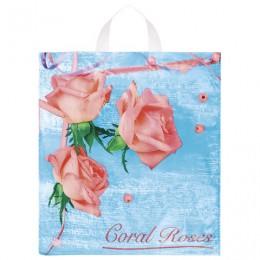 Пакет с петлевой ручкой ПНД, 42х38 см, Коралловые розы, 37 мкм, н00083908