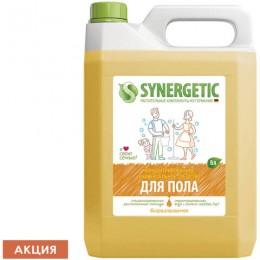 Средство для мытья пола и поверхностей 5 л SYNERGETIC, c дезинфицирующим эффектом, биоразлагаемое, 101500