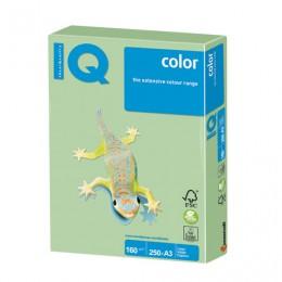 Бумага IQ color БОЛЬШОЙ ФОРМАТ (297х420 мм), А3, 160 г/м2, 250 л., пастель, зеленая, MG28