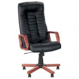 Кресло офисное Atlant extra, кожа, дерево, черное