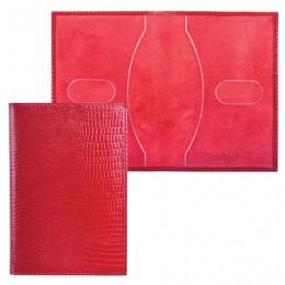 Обложка для паспорта BEFLER Ящерица, натуральная кожа, тиснение, красная, О.1-3