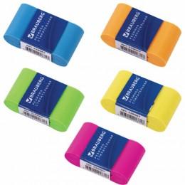Ластик BRAUBERG Rainbow, 42*23*13 мм, бумажный рукав, ассорти, термопластичная резина, 228067