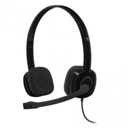 Наушники с микрофоном (гарнитура) LOGITECH H151, проводные, 1,8 м, с оголовьем, черные, 981-000589