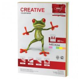 Бумага CREATIVE color (Креатив) А4, 80 г/м2, 100 л., (5 цв.х20 л.), цветная медиум, БОpr-100r