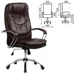 Кресло офисное МЕТТА LK-11CH, кожа, хром, коричневое