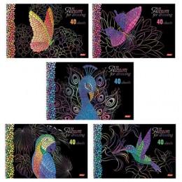 Альбом для рисования А4, 40 листов, спираль, 3D фольга и 3D лак, HATBER, 205х300 мм, Мозаика (5 видов), 40А4лофлВсп
