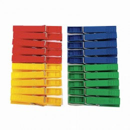 Прищепки бельевые пластиковые, комплект 20 шт., универсальные, цвет ассорти, YORK AZUR